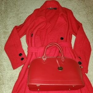 Nanette Lepore Cherry Red Wool Trench Coat